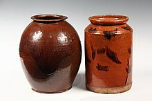 (2) EARLY REDWARE CROCKS - Late 18th to Mid 19th c