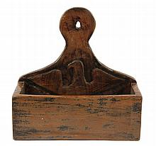 PRIMITIVE WALL-MOUNT CANDLE BOX - Pine Box with Carved Spreadwing Eagle, marked '1775' & 'MYK' on back, along with a fish, oblong f