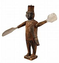 BLACKAMOOR WHIRLY-GIG - Standing Wooden Figure with Fez, black painted tin face, tin 'collar' & 'tailcoat', softwood with remnants