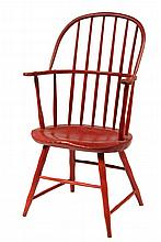 WINDSOR ARMCHAIR - New England Sack Back Windsor Armchair in later red paint, with deeply bodged seat, shaped arms, box stretchers. cir
