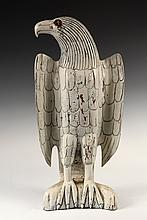 - FOLK ART EAGLE CARVING - White Painted Hardwood Figure of a Standing Eagle, with child's marbles inset as eyes, on integral plinth,