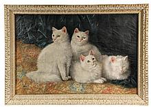 SUSANNA ADAMS WINN, (MA, 1852-1935); Four White Cats, oil on canvas, signed lower left with a 'handsaw', and dated 1890