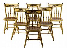 SET OF (6) COUNTRY SHERATON CHAIRS - Thumb Back Chairs in mustard yellow paint, with gold and black pinstriping, fruit theorem on rail,
