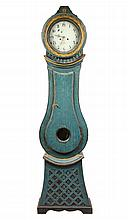 18TH C SWEDISH TALL CLOCK - Mora Grandfather Clock in blue painted softwood case, the painted steel dial marked