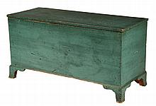COUNTRY BLANKET CHEST - 18th c. New England Six-Plank Pine Chest in the original apple green paint, with covered till, set on bracket F