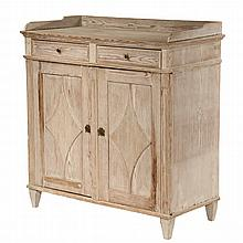 SCANDINAVIAN SERVER - 19th c. Pine Server in whitewash, with shaped gallery, two drawers over two raised panel doors having reeded diam