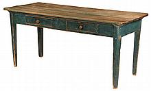 COUNTRY WORK TABLE - 19th c. Pine Kitchen Work Table with natural two plank top, set on blue painted base with two drawers, mushroom kn
