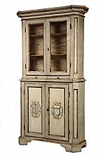 CONTINENTAL PAINTED CUPBOARD - 18th c. Country Two-Part Cupboard in grey & cream paint with gold detailing, heraldic shields on doors,
