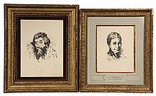 WILLIAM MERRITT CHASE, (NY/CA/IL, 1849-1916); Self Portrait and Portrait of the Artist's Wife; rotogravure prints from the original in