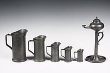 (6 PCS) CONTINENTAL PEWTER - Including: Set of Six Graduated Cylindrical Measures with handles and spouts, stamped on the handles in li