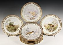 (8) ROYAL COPENHAGEN FAUNA DANICA PLATES - Game or Woodland Animals, circa 1900, with serrated edges, gilt raised border, marked 239-35