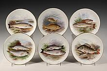 (6) HANDPAINTED FISH PLATES - Doulton Burslem, signed by Henry Mitchell (active 1893-1908), gilt edged, including: Common Trout; Perch