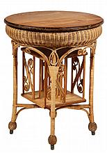 WICKER LAMP STAND - Round Fancy Wicker Table with oak top, convex woven skirt, four legs with spitcurl braces, rotating central bookcas