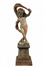PAINTED CAST IRON GARDEN FIGURE ON PLINTH - Two-Part Iron Figure of Classical Nymph dancing with scarf swept behind and overhead, on si