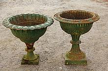 (2) CAST IRON URNS - 19th c. Urn Form Planters, with similar classical themes, but NOT a pair. 17