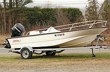 BOAT - 2006 15' Boston Whaler 150 Sport with Karavan trailer,60 HP DELPTEFI 4-stroke Mercury outboard motor, Ser 1B343223, 4 rod holde