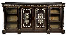 ITALIAN CREDENZA - Greek Revival Cabinet in ebonized walnut inlaid with bone, having gilt ormolu mounts