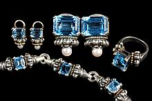 JEWELRY SUITE - 18K Yellow Gold, Sterling, Blue Topaz, and Pearl (4) Piece Suite, signed Lagos Caviar, including ring, bracelet, and (2