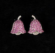 EARRINGS - 18K White Gold, Pink Sapphire, and Diamond Earrings, bellflower design bead-set with pink sapphires and round, full-cut diam
