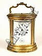 19th C Gilt Brass Oval Crystal Carriage Clock