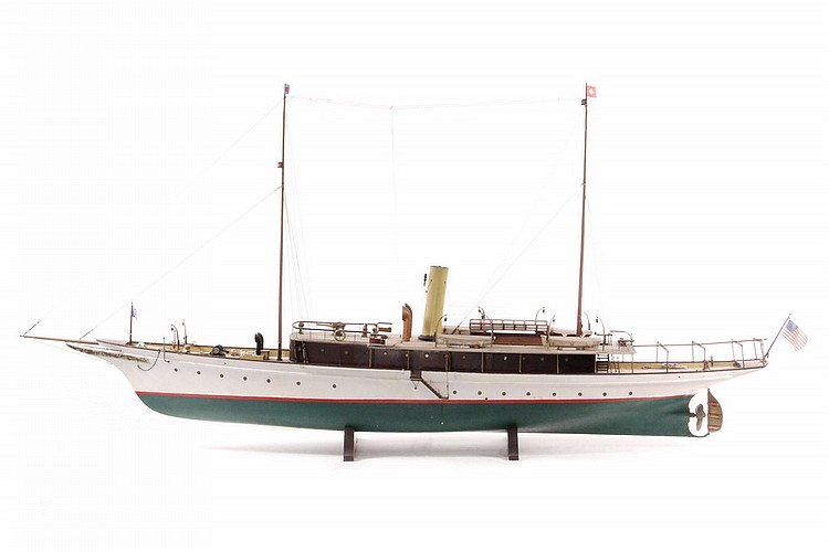 BOAT MODEL - Model of Steam Yacht 'Coquette' of New York, circa 1910, having two masts with Marconi radio antenna, New York Yacht Clu