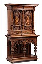 INLAID GERMAN CUPBOARD - Late 19th c Two Part Carved Renaissance Revival Court Cabinet, with deep cornice, triple columns, portrait doo