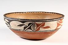 NATIVE AMERICAN POTTERY BOWL - Pueblo Decorated Bowl pencil signed