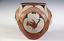 NATIVE AMERICAN POTTERY - Bird Decorated Olla by Juanita Pino, Zia Pueblo, New Mexico, circa 1940, signed on underside