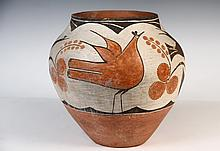 NATIVE AMERICAN POTTERY - Zia Decorated Terra Cotta Olla, circa 1880, with bird and berry theme, 10