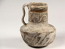 SMALL ANASAZI POTTERY PITCHER - Cylindrical Form Pitcher with stepped in tall neck, sinuous strap handle, geometric decoration, 6 3/4