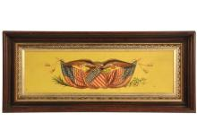 PATRIOTIC PLAQUE - Framed Panel decorated with eagle holding shield and