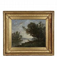 MANNER OF JEAN BAPTISTE CAMILLE COROT (France, 1796-1875) - River Landscape with Figure of a Woman, signed lower right, in original deep cove gilt frame, OS: 28 1/2