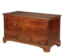 DOWRY CHEST - 18th c American Colonial Pine Dowry Chest with molded top having original shaped strap hinges, removed lock, unfinished interior with covered till, intermediate rank of beading having three shallow drawe...