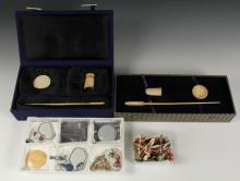 A GROUP OF SNUFF BOTTLE PARAPHENALIA - Including: Five Snuff Dishes, Two Sets of Snuff Accessories and a Box of Snuff Bottle Stoppers.