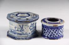 (2) EARLY FAIENCE INKWELLS - Both Spanish, with quill holes, including: 18th c. Octagonal Form, decorated with rabbit and dove, marked