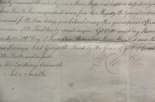 1778 HENRY CLINTON SIGNED APPOINTMENT - Rare British Army Revolutionary War 'Field Appontment' of Andrew Cathcart as Major of His Majesty's Tenth Regiment of Foot, commanded by Lieutenant General Edward Sandford, sign