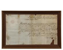 1746 COMMISSION FOR INVASION OF CANADA - Appointment of John Shannon, Esq. as Captain of force of 100 men, dated June 20, 1746, signed by Lt. Governor George Thomas under the order of the King and the Duke of Newcastl...
