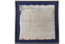 1745 ENGLISH LAND DEED - George II Reign Deed between two very convoluted parties, so complex that the court recorder had to go in and clarify relationships between the lines. Ink on parchment with wax seals, dated De...