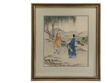 FRAMED CHINESE PAINTING - 19th c. Watercolor on Silk of Scholar with Student in Countryside, both are carrying fly whisks, facing each other in discourse while standing under a willow tree, river and mountains in back...