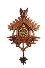 FOLK ART CUCKOO CLOCK - Black Forest Style Cuckoo Clock featuring three oversized American Eagles, carved by Morton Riddle (KY/CA, 1909-1992), a retired watchmaker from Peastick, Kentucky who was discovered by Liz Bla...