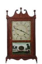 ELI TERRY BRACKET CLOCK - Mahogany Cased Clock with scroll pediment, replaced finials, full columns, booked veneer, molded bracket base, painted dial with floral brackets, eglomise lower glass decorated with a view of...