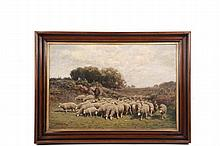 GEORGE ARTHUR HAYS (RI/MA/NH, 1854-1945) - Herdsman with Sheep, oil on canvas, signed lower left and dated '98, in period American black walnut cove frame with gold leaf liner, OS: 20 1/2