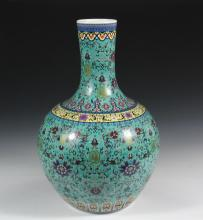 LARGE CHINESE BOTTLE VASE - Qing Daoguang Porcelain Floor Vase in celadon green with overall polychrome lotus decoration, Imperial yellow bands, underglaze blue mark on bottom, 21 3/4