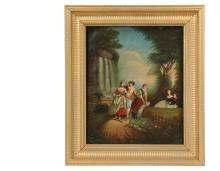 19TH C FRENCH COURTING ARTIST - Idyllic Garden Scene (with hidden erotic imagery), oil on canvas, unsigned, having two couples and a servant girl who is gardening, housed in a modern gold painted frame, OS: 24