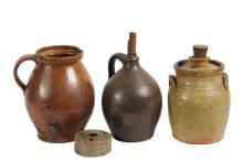 (4 PCS) EARLY AMERICAN STONEWARE - All salt glaze, including: Brown Jug with original wood and leather stopper, 10 1/2