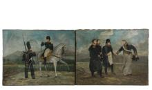 CHARLES GEDON (19th c. French) - Two Naive Portraits of Napoleon, oil on linen on the original simple slat stretchers, both signed and titled, including: