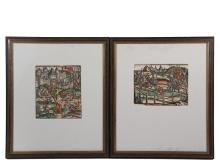 (2) HAND COLORED WOODCUTS - German, 16th c