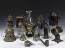 COLLECTION OF (12) 19TH C. LIGHTING FIXTURES - Mostly Kerosene, including: Black Lamp with gold trim, bull's-eye lens, 7