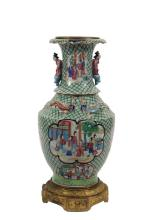 CHINESE PORCELAIN VASE WITH FRENCH MOUNTS - Unusual Mid-19th c. Chinese Famille Rose Palettte Vase made for the Continental Market, in baluster form with a pair of raised lugs in human form, four raised dragons on the...