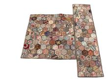 (2) MATCHING HOOKED RUGS - Circa 1930-40. Maine made, in pictorial hexagonal panels, including: Area Rug featuring duck, bull dog, chicks, songbirds, airplane, house, flowers and fruit, 56